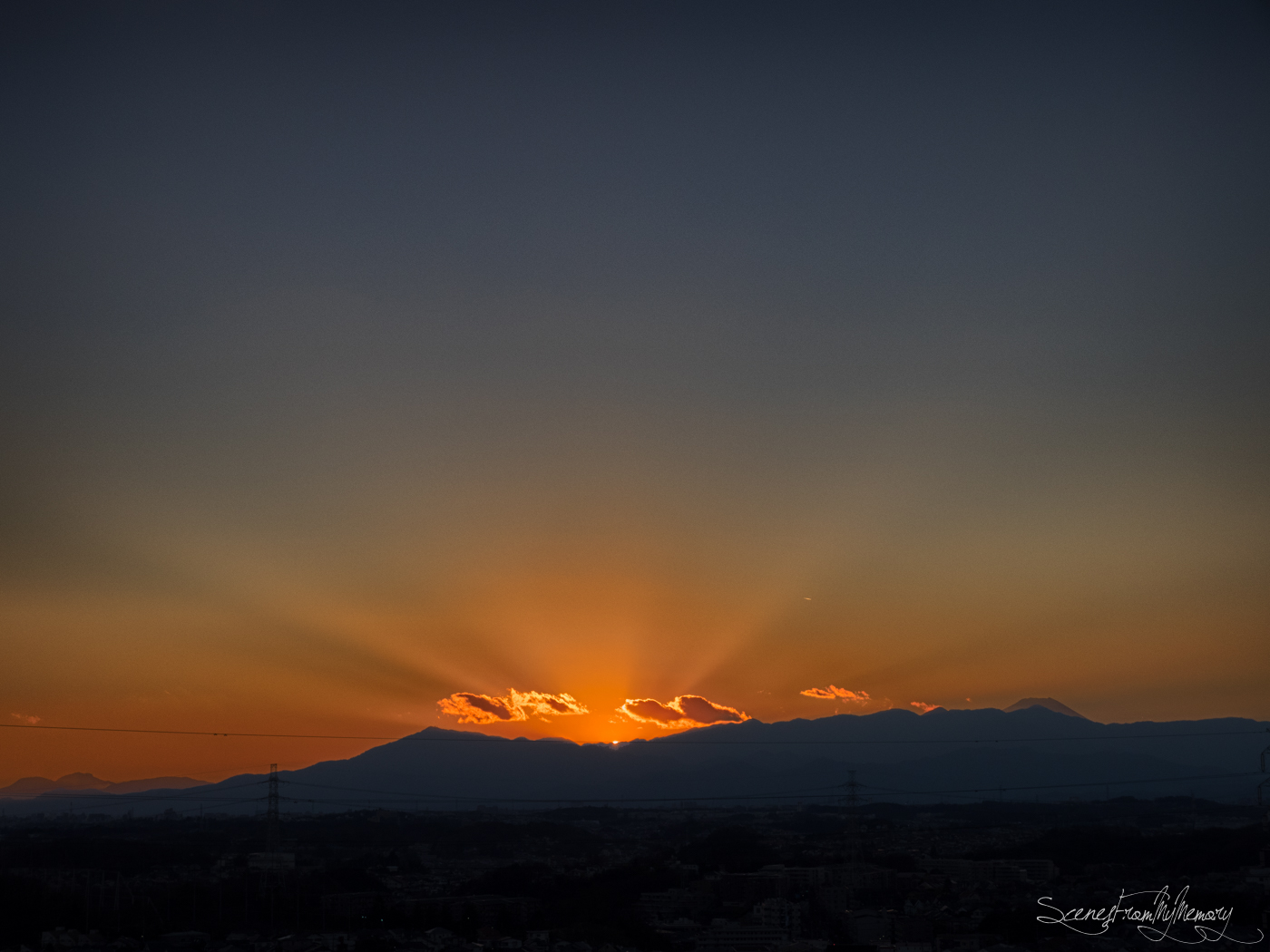 First Sunset And Mt.Fuji